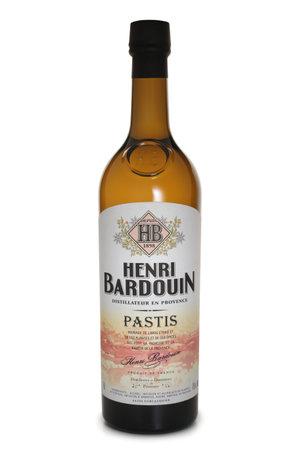 ST. PETERSBURG, RUSSIA - NOVEMBER 25, 2018: Bottle of Henri Bardouin Pastis, France