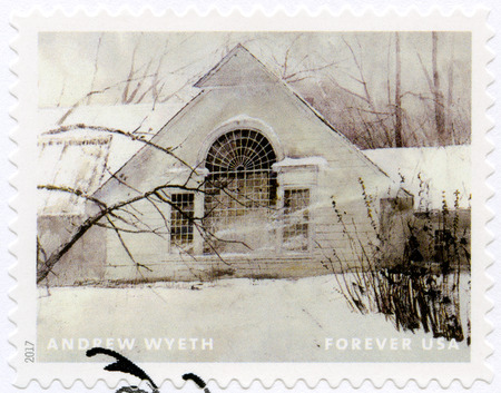 USA - CIRCA 2017: A stamp printed in USA shows Rustic Winter Cottage, Andrew Newell Wyeth (1917-2009), Ceremony Memento, circa 2017