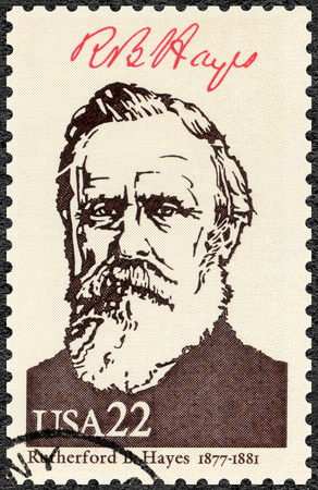 UNITED STATES OF AMERICA - CIRCA 1986: A stamp printed in USA shows Portrait of Rutherford B. Hayes (1822-1893), 19th president of the United States, series Presidents of USA, circa 1986