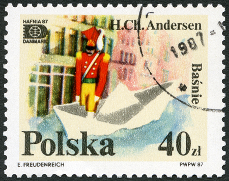 POLAND - CIRCA 1987: A stamp printed in Poland shows The Brave Steadfast Toy Tin Soldier, by Hans Christian Andersen, Fairy tales by Hans Christian Andersen (1805-1875), series, circa 1987 Editorial