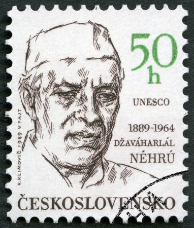 CZECHOSLOVAKIA - CIRCA 1989: A stamp printed in Czechoslovakia shows portrait of Indian Prime Minister Jawaharlal Pandit Nehru (1889-1964), series Famous men, circa 1989