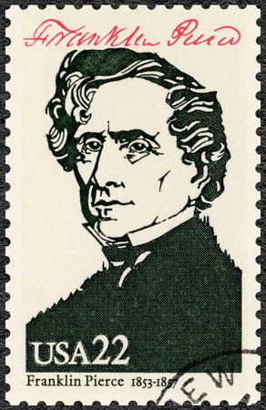 UNITED STATES OF AMERICA - CIRCA 1986: A stamp printed in USA shows Portrait of Franklin Pierce (1804-1869), 14th president of the United States, series Presidents of USA, circa 1986 Editorial