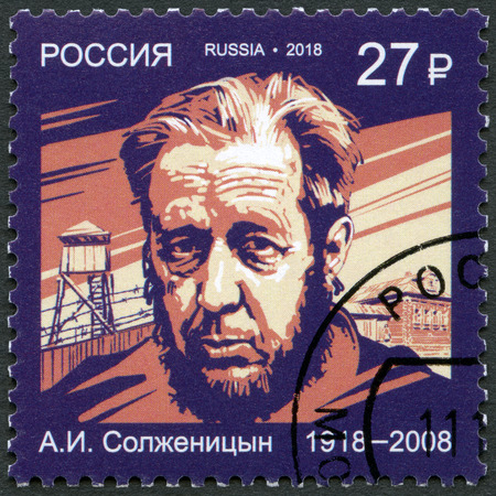 RUSSIA - CIRCA 2018: A stamp printed in Russia shows Aleksandr Solzhenitsyn (1918-2008), novelist, series Nobel Laureate in Literature, circa 2018 Banque d'images - 120168513
