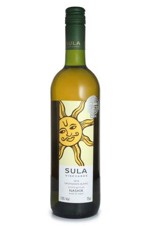 ST. PETERSBURG, RUSSIA - JUNE 18, 2017: Bottle of Sula Sauvignon Blanc, India, 2016