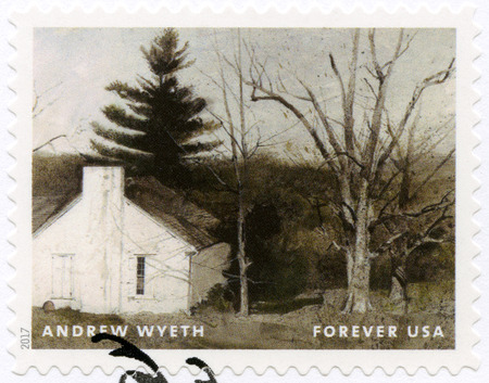 USA - CIRCA 2017: A stamp printed in USA shows Rustic White Cottage, Andrew Newell Wyeth (1917-2009), Ceremony Memento, circa 2017