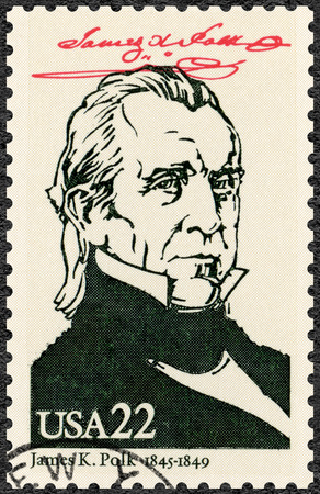 UNITED STATES OF AMERICA - CIRCA 1986: A stamp printed in USA shows Portrait of James Knox Polk (1795-1849), 11th president of the United States, series Presidents of USA, circa 1986 Editorial