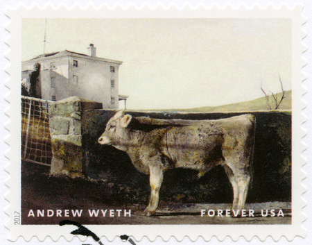 USA - CIRCA 2017: A stamp printed in USA shows Young Bull, Andrew Newell Wyeth (1917-2009), Ceremony Memento, circa 2017