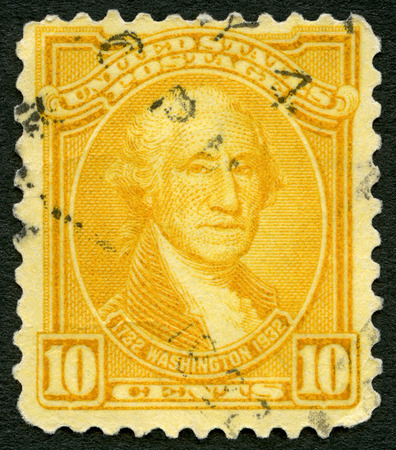 UNITED STATES OF AMERICA - CIRCA 1932: A stamp printed in USA shows portrait George Washington (1732-1799), series Washington Bicentennial Issue Various Portraits of George Washington, circa 1932