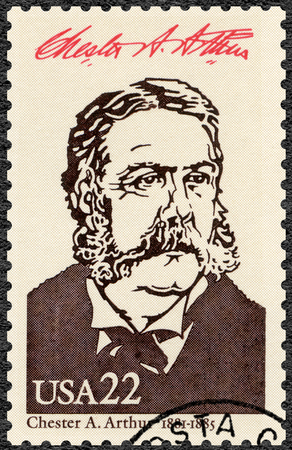 UNITED STATES OF AMERICA - CIRCA 1986: A stamp printed in USA shows Portrait of Chester Alan Arthur (1829-1886), 21st president of the United States, series Presidents of USA, circa 1986 Editöryel