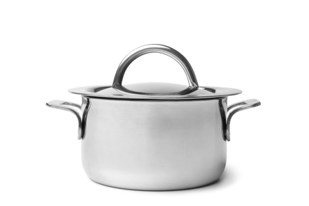 Stainless steel pan with lid on white background