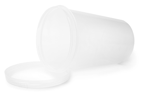 Kitchen plastic storage container with lid on white background
