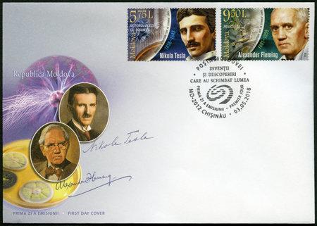 MOLDOVA - CIRCA 2018: A stamp printed in Republic of Moldova shows Sir Alexander Fleming (1881-1955), Discoverer of Penicillin and Nikola Tesla (1856-1943), inventor, circa 2018 Redakční