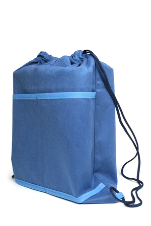 Blue bag for footwear on white background