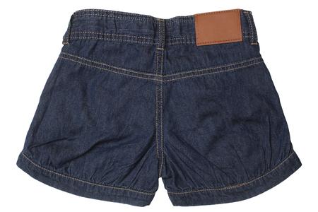 Childrens wear - jeans shorts isolated on white background Reklamní fotografie