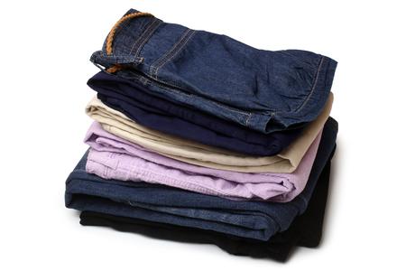Folded clothes on white background Reklamní fotografie