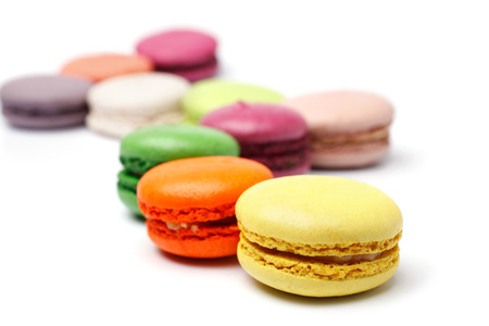 Colorful french macaroons on white background Reklamní fotografie