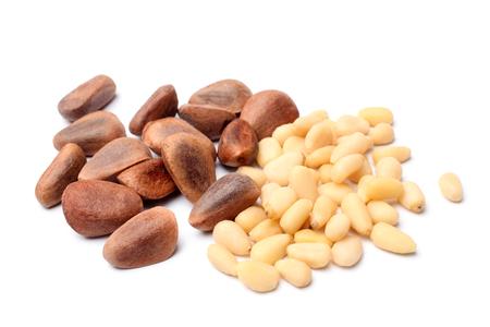 Pine nuts on white background Reklamní fotografie