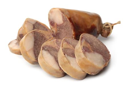 Kazy - horse meat sausage on white background