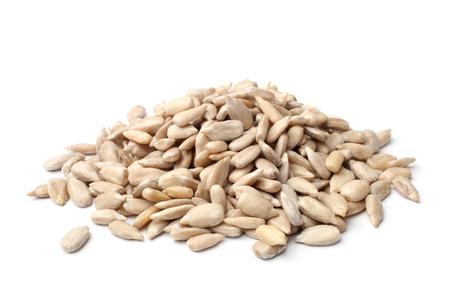 Unshelled sunflower seeds on white background Reklamní fotografie
