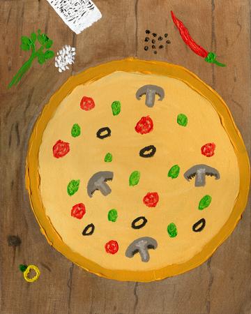 Pizza on wooden table, oil painting Reklamní fotografie