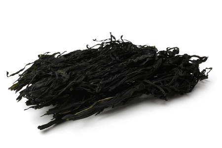 Dried seaweed on white background
