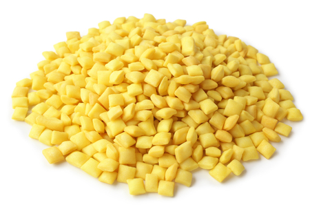 Heap of croutons on white background
