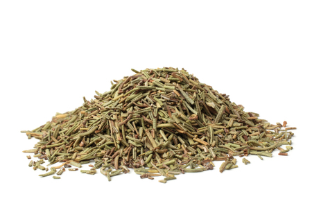 Dried rosemary on white background