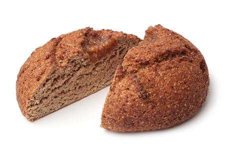 Rye bread on white background