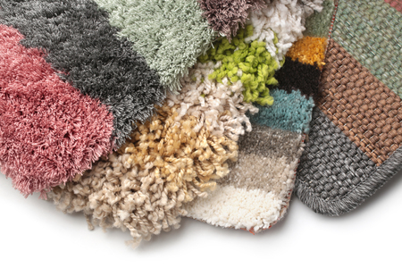 Samples of collection carpet on white background