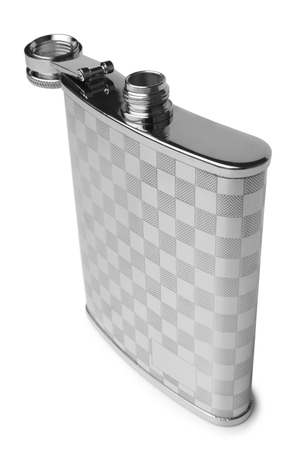 Stainless hipflask on white background