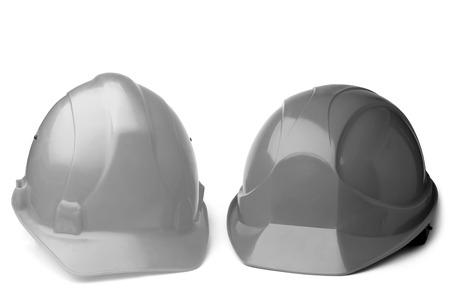 Pair of hard hats on white background Standard-Bild