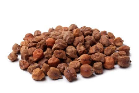 Brown chickpea on white background