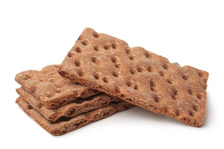 Rye bread crackers on white background 스톡 콘텐츠