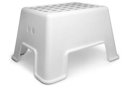 Plastic step stool on white background