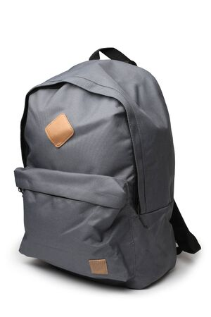Gray backpack on white background