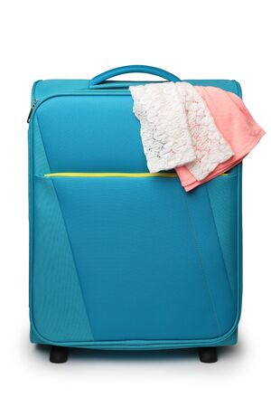 Travel suitcase on white background Archivio Fotografico