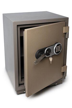 Aprire la cassetta di sicurezza su sfondo bianco Archivio Fotografico