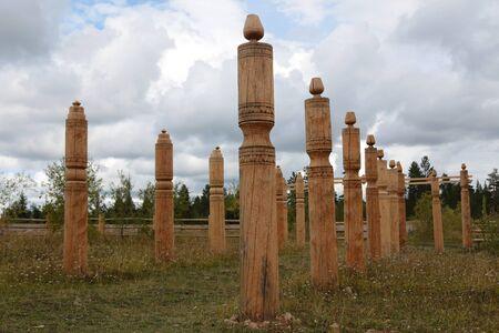 Yakut hitching post - Serge. Yakut national traditions. 스톡 콘텐츠
