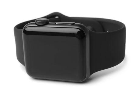 Black smart watch on white background Imagens