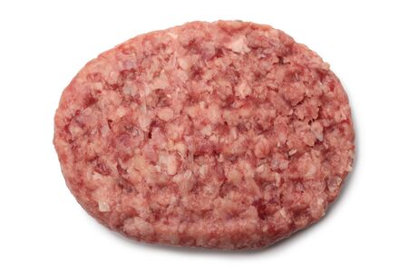 Raw meat burger cutlet on white background