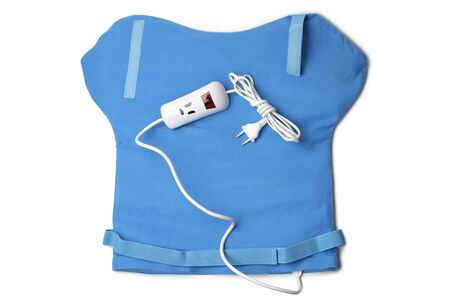 Electric heating pad for neck and shoulders on white background Standard-Bild