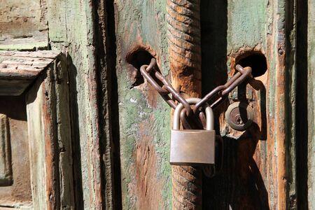 Closeup old door with lock
