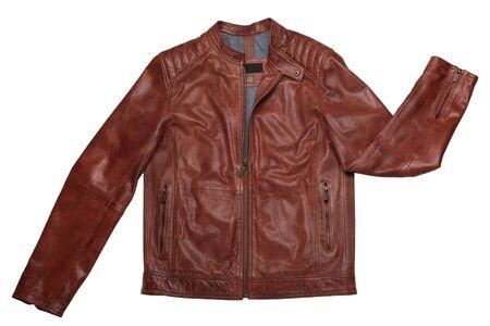 Male leather jacket isolated on white background Archivio Fotografico