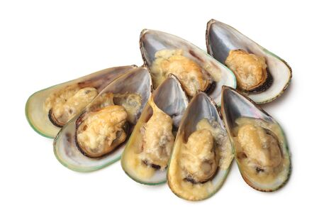 Baked mussel with cheese on white background