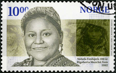 Moscow, Russia - September 21, 2019: A stamp printed in Norway shows Rigoberta Menchu Tum (born 1959), human rights activist, The Nobel Peace Prize, 1991, circa 2001