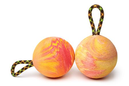 Climbing balls on white background. Training tools for rock climbing and bouldering.