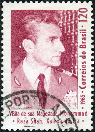 BRAZIL - CIRCA 1965: A stamp printed in Brazil shows Mohammad Reza Pahlavi Riza (1919-1980), Commemorating the visit of Shah of Iran, circa 1965