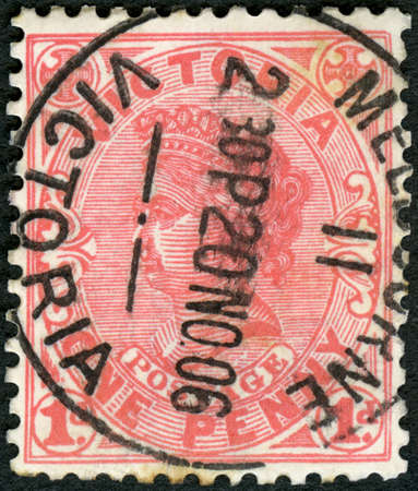 MOSCOW, RUSSIA - MAY 01, 2018: A stamp printed in Australia, Victoria shows Queen, One Penny, 1901