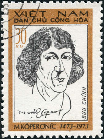 VIETNAM - CIRCA 1973: A stamp printed in Vietnam shows Nicolaus Copernicus (1473-1543), astronomer, circa 1973