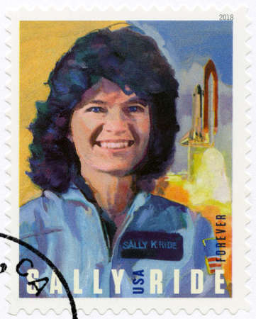 LA JOLLA, USA - MAY 23, 2018: A stamp printed in USA shows portrait of Sally Kristen Ride (1951-2012), American Astronaut, circa 2018 報道画像